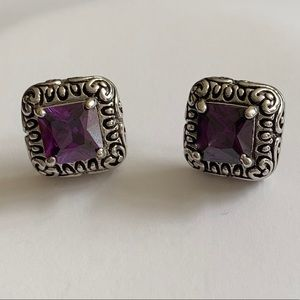 Artisan Scroll Square Amethyst Earrings